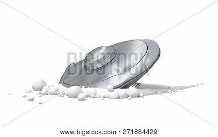 3d Rendering Of A Flying Saucer Crash-landed On White Ground.