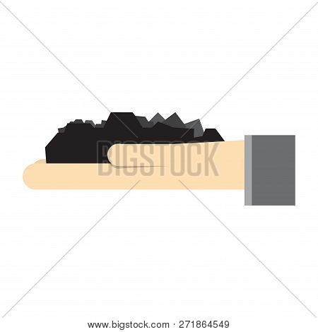 Hand With Coal. Mine Worker Working With Shovel In The Coal Mine. Mining Industry Concept. Vector Ca