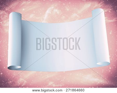 3d Rendering Of A Magical Fairytale Blank Scroll With A Sparkling Enchanting Background.