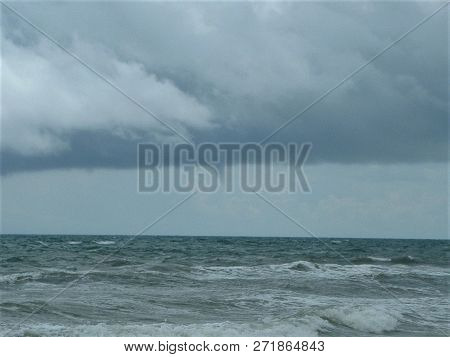 A Waterspout Off In The Distance On A Stormy Day In Destin, Florida.