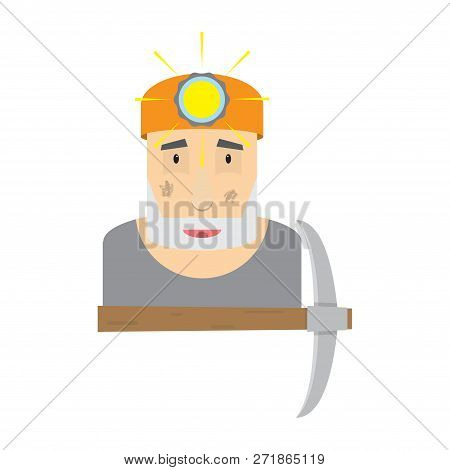 Illustration Of A Coal Miner Holding A Pickaxe With Helmed On Head