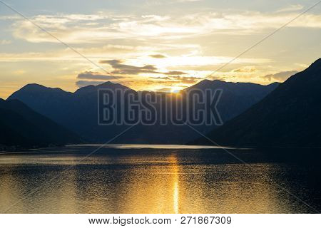 Beautiful Sunset At Bay Of Kotor. Mountains And The Sea