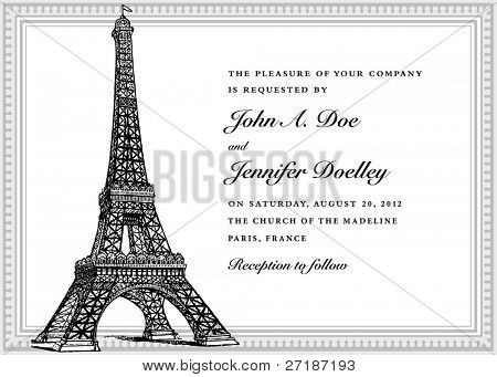 Vector Eiffel Tower Wedding Invitation