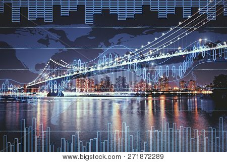 Night City Background With Digital Forex Chart. Trade And Future Concept. Double Exposure