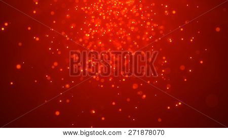 Christmas Red Background. Abstract Magic Light Background. Bokeh Background. 3D Rendering.