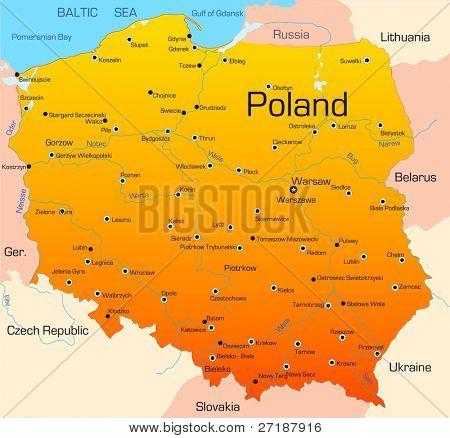 Abstract vector color map of Poland country