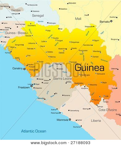 Abstract vector color map of Guinea country poster