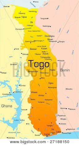 Abstract vector color map of Togo country