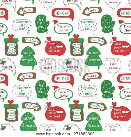 Seamless Pattern Holiday Speech Bubbles With Christmas Greetings: Merry Christmas, Happy Holiday, Le