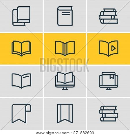 Vector Illustration Of 12 Book Reading Icons Line Style. Editable Set Of Publishing, Bookstore, Eboo