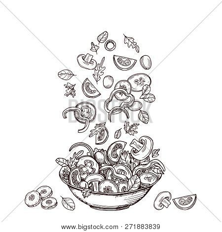 Hand Drawn Salad. Fresh Vegetable Slices Falling To Salad-bowl. Green Salads Diet And Healthy Food V