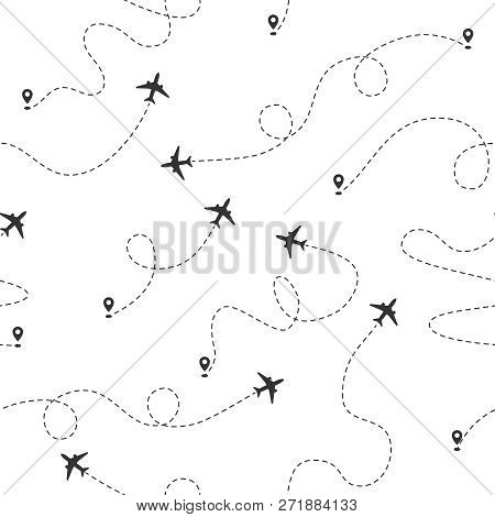 Airplane Dotted Flight Line Seamless Pattern. Plane Flying Path. Travel Concept Vector Wallpaper. Ai