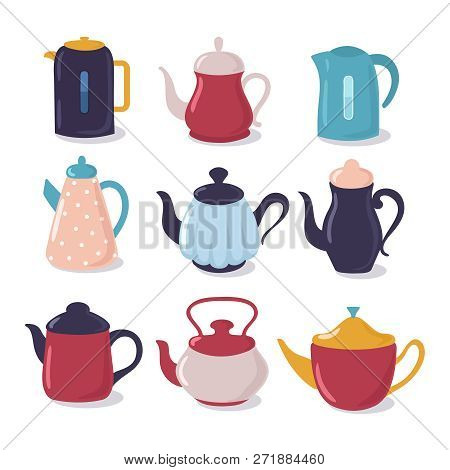 Cartoon Kettle Set. Teapot With Spout Kitchenware, Household Utensils Vector Collection. Kettle Tea,