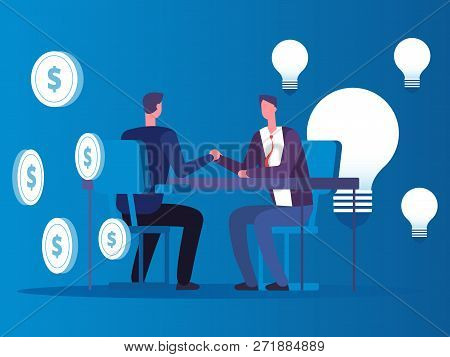 Exchange Of Ideas For Money, Businessman Buys Ideas Vector Concept. Business Exchange Money And Lamp