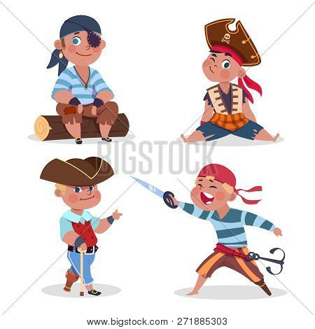 Cartoon Character Boys Pirates Vector Isolated On White Background. Pirate Character Boy, Costume Pi