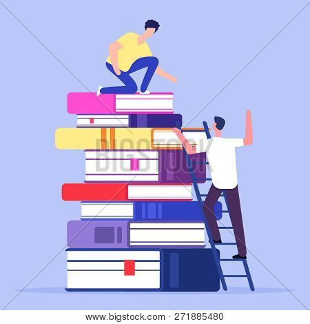 Help And Support In Education Vector Concept. Illustration Of Education Support Concept. Stack Of Bo