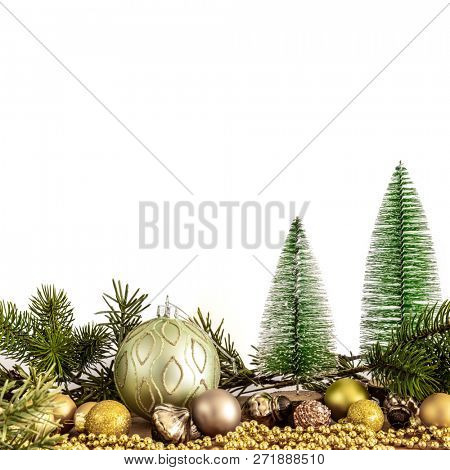 A Christmas decoration glass balls with fir trees
