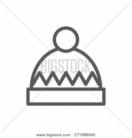 Winter Knitted Hat Editable Icon Vector Illustration - Warm Seasonal Clothing Decorated With Pattern