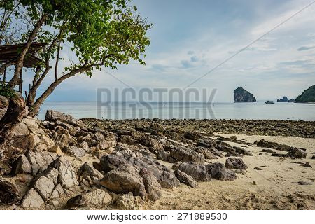 Beach With Sand And Stones In Krabi Area, Tree With Green Leaves On The Left, Thai Island In The Bac