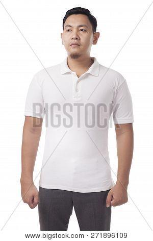 White Polo T-shirt Mock Up, Front View. Male Model Wear Plain White Shirt Mockup. Polo Shirt Design