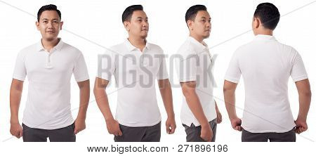 White Polo T-shirt Mock Up, Front And Back View, Isolated. Male Model Wear Plain White Shirt Mockup.