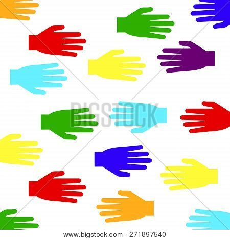 Hands Of Different Colors. Vector Illustration. White Background.