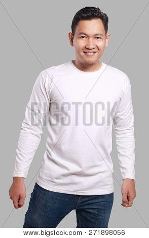White Long Sleeved Shirt Design Template