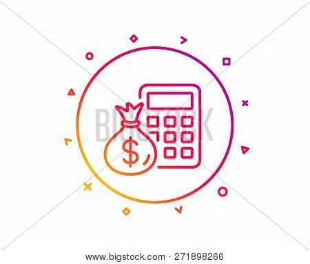 Calculator With Money Bag Line Icon Accounting Sign Calculate Finance Symbol Grant Pattern