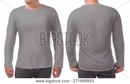 Gray Long Sleeved T-shirt Mock Up, Front And Back View, Isolated. Male Model Wear Plain Grey Shirt M