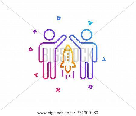 Partnership Line Icon. Business Management Sign. Launch Startup Project Symbol. Gradient Line Button