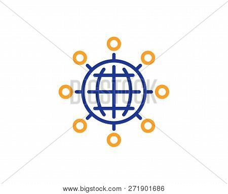 Business Networking Line Icon. International Work Symbol. Global Communication Sign. Colorful Outlin
