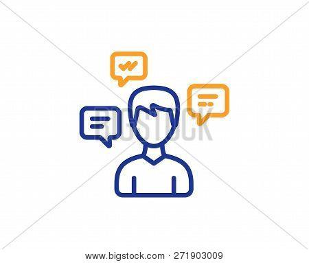 Chat Messages Line Icon. Conversation Sign. Communication Speech Bubbles Symbol. Colorful Outline Co
