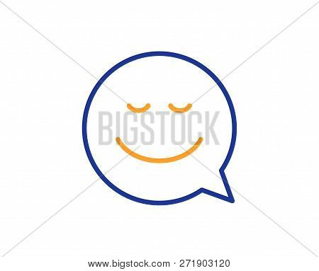 Comic Speech Bubble With Smile Line Icon. Chat Emotion Sign. Colorful Outline Concept. Blue And Oran