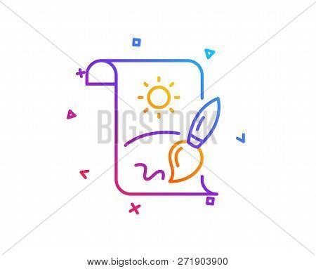 Creative Painting Brush Line Icon. Creativity Sign. Graphic Art Symbol. Gradient Line Button. Creati