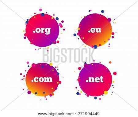 Top-level Internet Domain Icons. Com, Eu, Net And Org Symbols. Unique Dns Names. Gradient Circle But