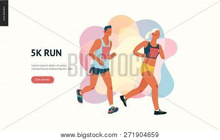 Marathon Race Group - Flat Modern Vector Concept Illustration Of Running Men And Women Wearing Sport