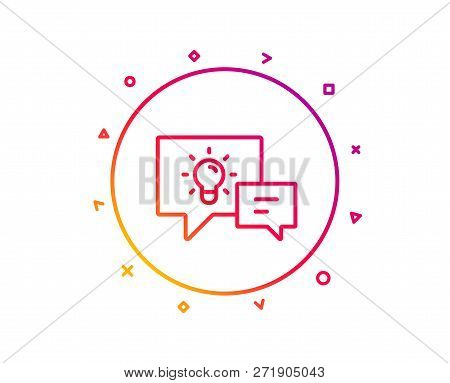 Idea Lamp With Speech Bubbles Line Icon. Communication Sign. Light Bulb Symbol. Gradient Pattern Lin