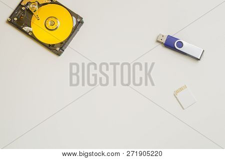 Colorful Hdd Isolated On White. Hard Disk Drive With Memory Card And Usb. Hard Drive From The Comput