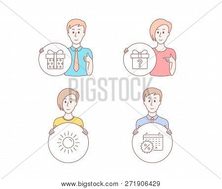 People Hand Drawn Style. Set Of Sun, Secret Gift And Gift Box Icons. Calendar Discounts Sign. Summer