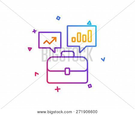 Business Portfolio With Growth Charts Line Icon. Job Interview Sign. Gradient Line Button. Business