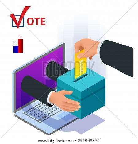 Isometric Online Voting And Election Concept. Digital Online Vote Democracy Politics Election Govern