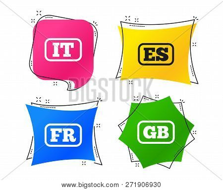 Language Icons. It, Es, Fr And Gb Translation Symbols. Italy, Spain, France And England Languages. G