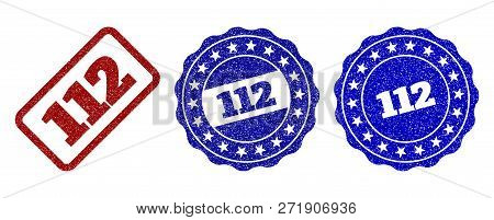 112 Grunge Stamp Seals In Red And Blue Colors. Vector 112 Signs With Grunge Style. Graphic Elements