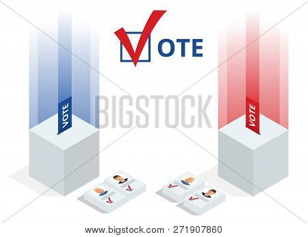 Isometric Ballot Box With Voting Paper In Hole On White Background Isolated Vector Illustration. Vot