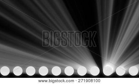 Animation Of Stage Lights Frame. Bright Shiny Stage Lights Flashing Movement Entertainment Spotlight
