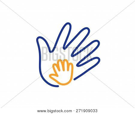 Hand Line Icon. Social Responsibility Sign. Honesty, Collaboration Symbol. Colorful Outline Concept.