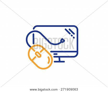 Computer Line Icon. Pc Mouse Component Sign. Monitor Symbol. Colorful Outline Concept. Blue And Oran