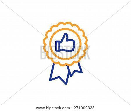 Positive Feedback Line Icon. Award Medal Symbol. Reward Sign. Colorful Outline Concept. Blue And Ora