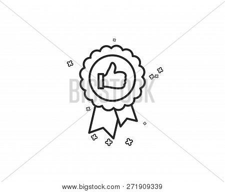 Positive Feedback Line Icon. Award Medal Symbol. Reward Sign. Geometric Shapes. Random Cross Element
