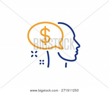 Pay Line Icon. Think About Money Sign. Beggar Symbol. Colorful Outline Concept. Blue And Orange Thin
